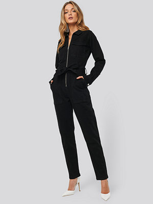 NA-KD Denim Belted Jumpsuit svart