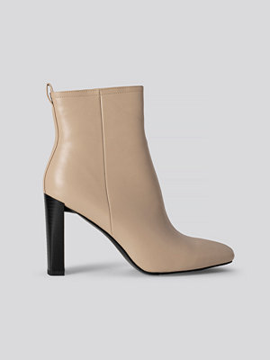 NA-KD Shoes Squared Toe Slim Heel Boots beige