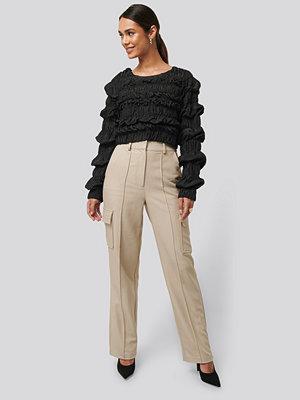 NA-KD Trend omönstrade byxor Straight Fit Pocket Suit Pants beige