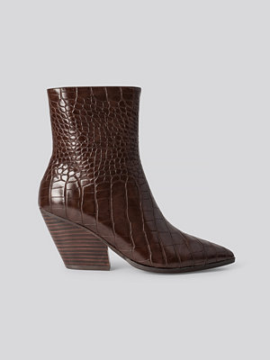 NA-KD Shoes Croc Western Heel Pointy Boots brun