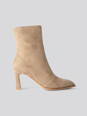NA-KD Shoes Suede Look Heeled Boots beige