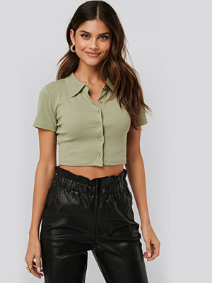 NA-KD Polo Neck Cropped Top grön