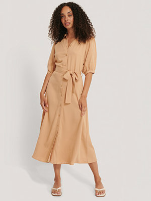 NA-KD Puff Sleeve Belted Midi Dress beige