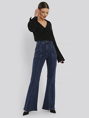 NA-KD Trend High Waist Front Seam Flare Jeans blå