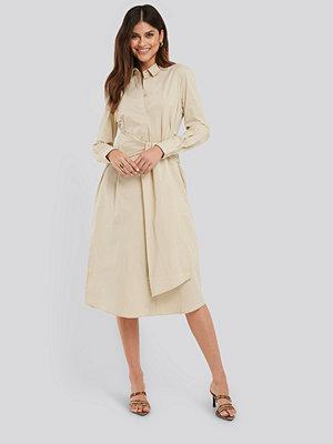 NA-KD Classic Tie Front Shirt Dress beige