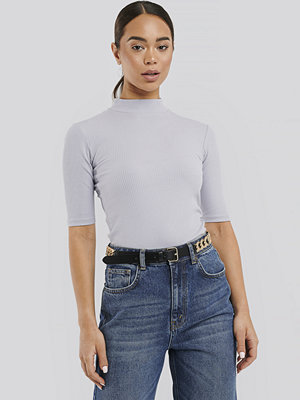 NA-KD Trend Ribbed Jersey Top lila