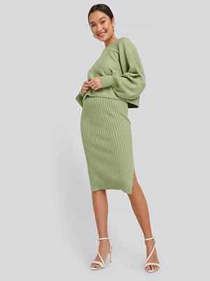 NA-KD Rib Knitted Skirt grön
