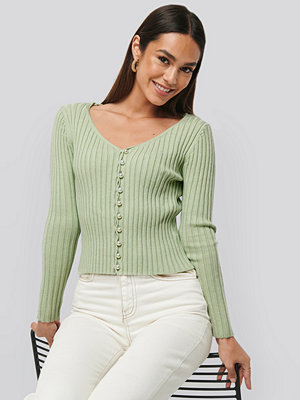 Cardigans - NA-KD Trend Pearl Detailed Knitted Cardigan grön