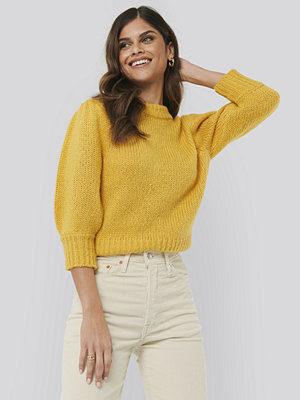 Cardigans - NA-KD Puff LS Round Neck Knitted Sweater gul
