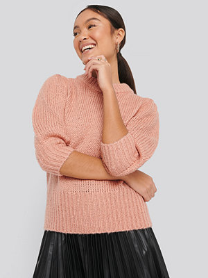Cardigans - NA-KD Puff LS Round Neck Knitted Sweater rosa