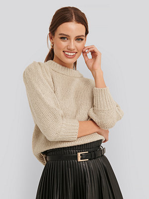 Cardigans - NA-KD Puff LS Round Neck Knitted Sweater beige
