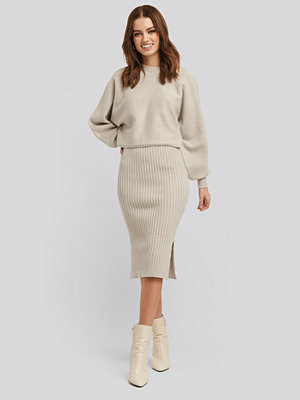 NA-KD Rib Knitted Skirt beige