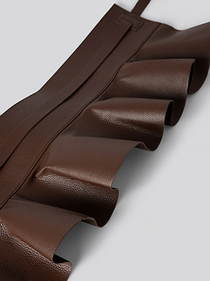 NA-KD Accessories Frill Detail Waist Belt brun