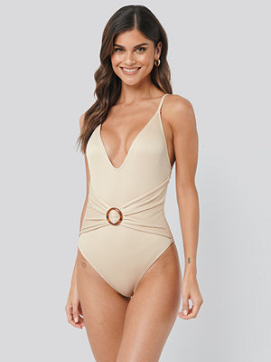 NA-KD Swimwear Ribbed Buckle Swimsuit beige