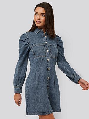 NA-KD Trend Miniklänning Med Ballongärmar blå