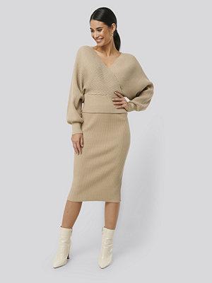 NA-KD Glittery Ribbed Knitted Skirt beige