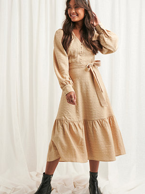 NA-KD Boho Structured Tie Waist Dress beige