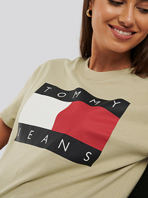 T-shirts - Tommy Jeans Tommy Flag Tee beige