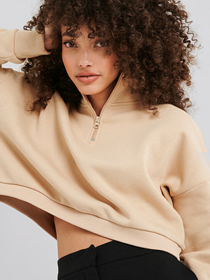 Hanna-Martine x NA-KD Zipper Jersey Sweater beige