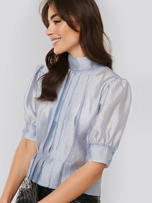 NA-KD Trend Structured Organza Gathered Blouse blå