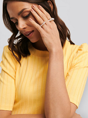 NA-KD Accessories smycke Pearl Detail Rings guld