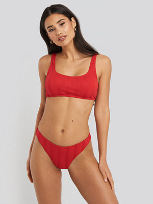 NA-KD Swimwear Wide Ribbed Highcut Bikini Briefs röd