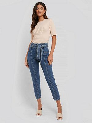 NA-KD Paper Waist Jeans blå