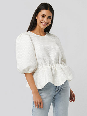 NA-KD Boho Structured Puff Blouse vit