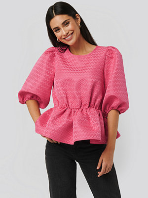 NA-KD Boho Structured Puff Blouse rosa