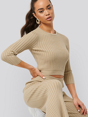 NA-KD Round Neck Ribbed Knitted Sweater beige