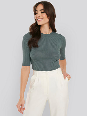 NA-KD Ribbed Short Sleeved Top blå