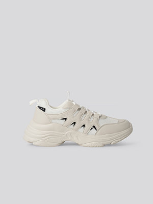 NA-KD Shoes Chunky Sneakers Med Sicksackmönster vit