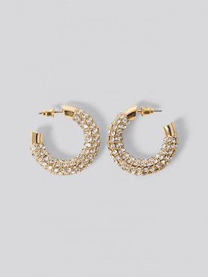 NA-KD Accessories smycke Rhinestone Hoop Earrings guld