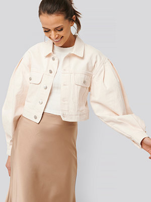 NA-KD Trend Puff Sleeve Oversized Denim Jacket vit