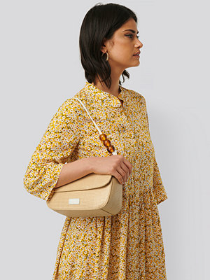 NA-KD Accessories gul axelväska Bead Strap Shoulder Bag beige