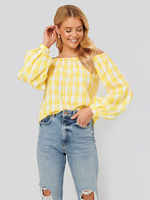 NA-KD Boho Off Shoulder Structure Check Blouse gul