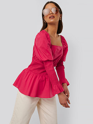 NA-KD Trend Rynkad Bomullsblus rosa