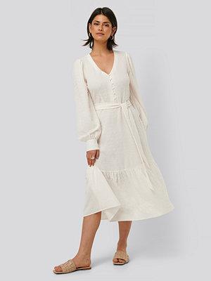 NA-KD Boho Structured Tie Waist Dress vit
