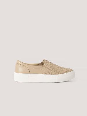 NA-KD Shoes Flätade Gympaskor I Slip In-Modell beige