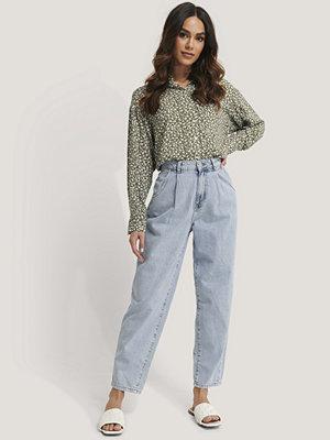 Mango Croppade Jeans Med Ballongben blå