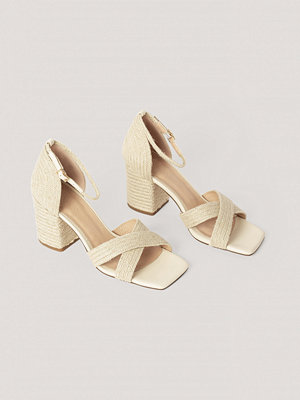 NA-KD Shoes Braided Raffia Heels nude