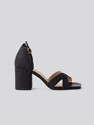 NA-KD Shoes Braided Raffia Heels svart