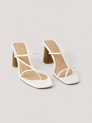 NA-KD Shoes Fine Strappy Block Heel Sandals vit