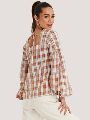 NA-KD Boho Structure Check Blouse rosa multicolor