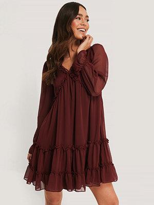 Trendyol Sheer Ruffle Mini Dress burgundy