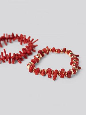 NA-KD Accessories smycke 2-pack Coral Look Bracelets röd