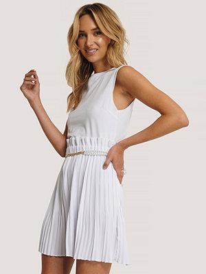 NA-KD Paper Waist Mini Skirt vit
