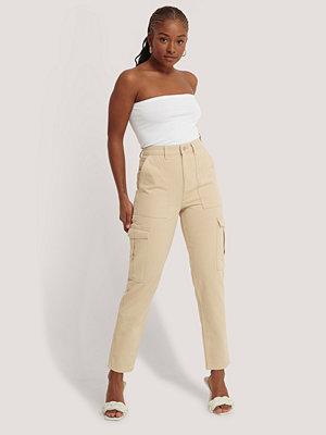 NA-KD Jeans Med Medelhög Midja beige