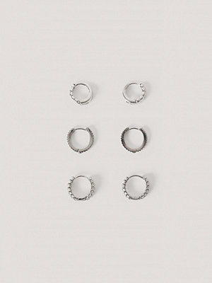 NA-KD Accessories smycke 3-Pack Structured Tiny Hoops silver