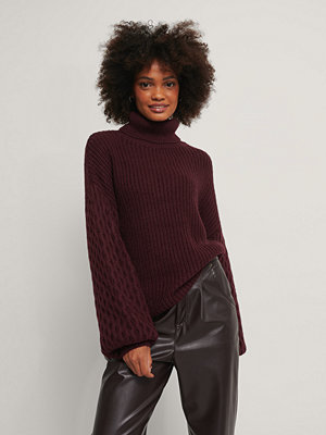 Tröjor - NA-KD Sleeve Detailed Knitted Polo Sweater burgundy
